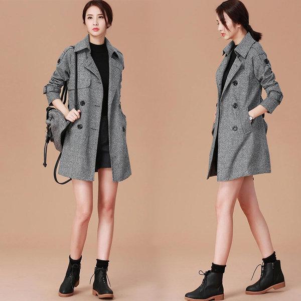 트렌치코트 여자 자켓 롱코트 롱자켓 점퍼 체크 코트 상품이미지