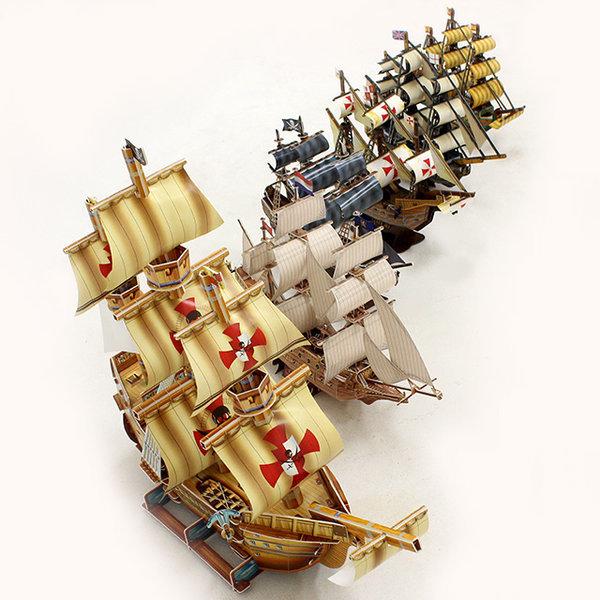 킹콩 종이모형 범선 6종 세트 3D퍼즐 종이만들기 상품이미지