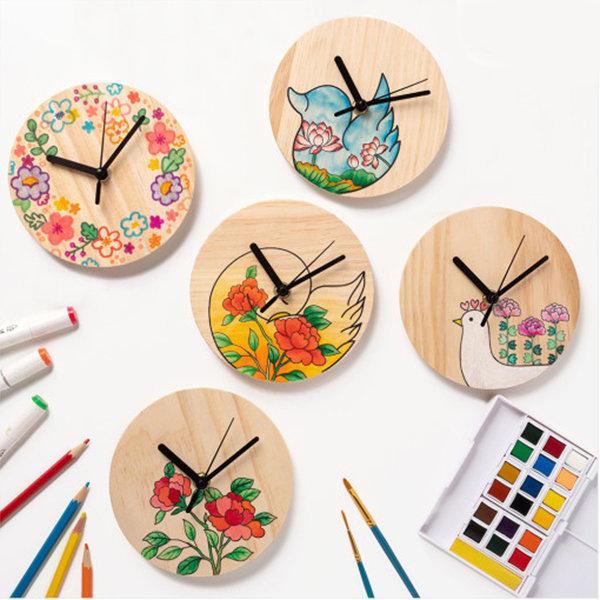 민화 원목 시계 만들기 5종. 무브먼트(부품) 포함 상품이미지