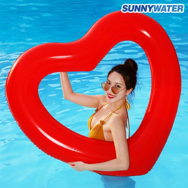 써니워터 대형 하트 튜브 원형 물놀이 보트 수영 레드 상품이미지