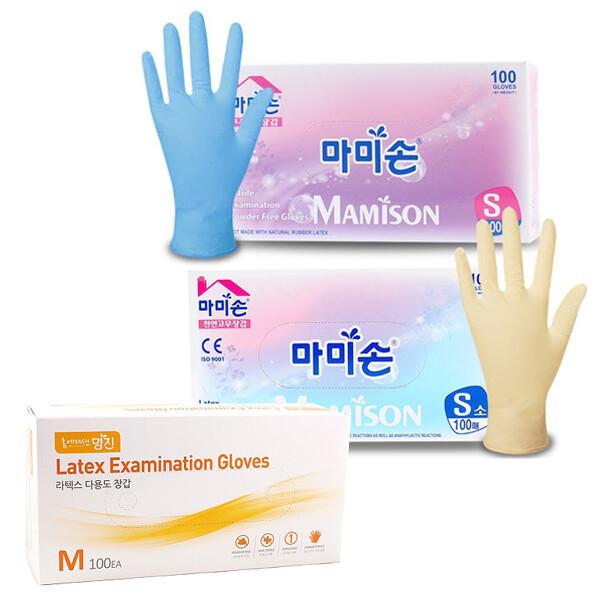 마미손)라텍스/니트릴 위생장갑 100개(소/중/대) 상품이미지