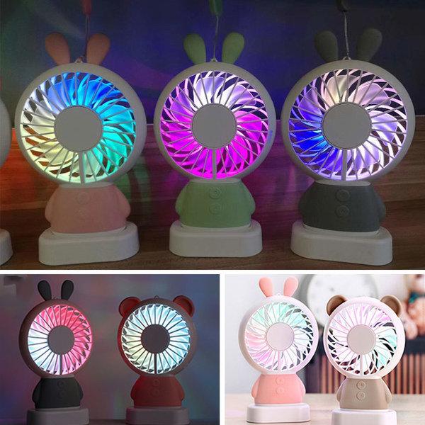 LED 라이트닝 휴대용 미니 선풍기/USB/충전식/탁상용 상품이미지
