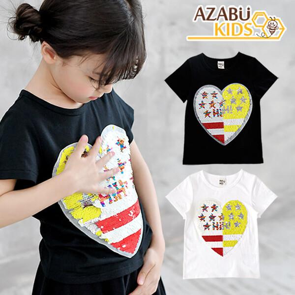 (현대Hmall) 아자브키즈  투컬러 스팽글 하트 티 아동 유아 여름 티셔츠 상품이미지