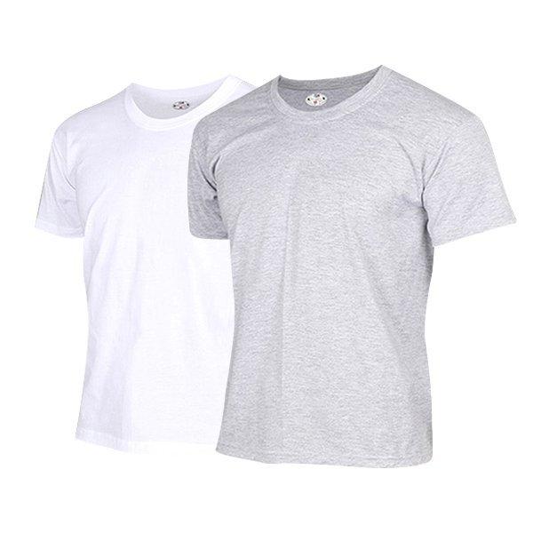 (티팜) 면 라운드 티셔츠 화이트 멜란지 상품이미지