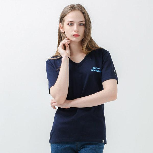 V넥 반팔 프린트 티셔츠 / 여성커플 반팔티 GT-374 상품이미지