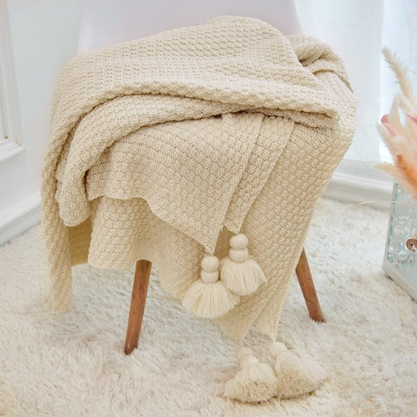 태슬 니트 담요(아이보리) 상품이미지