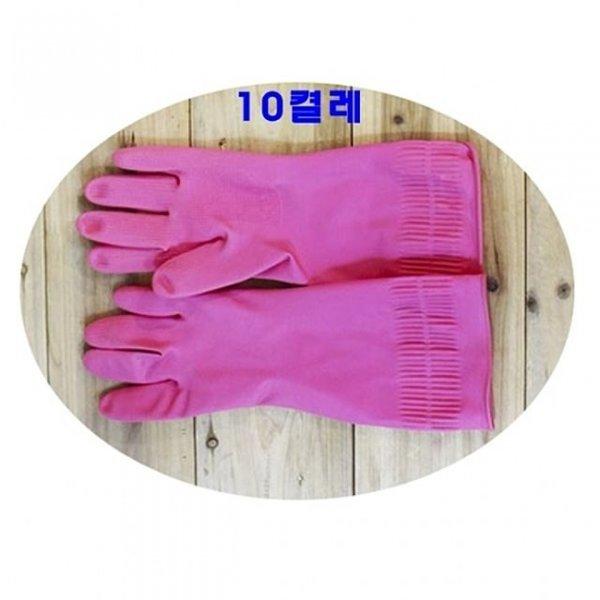 바이리빙고무장갑(중)핑크 10켤레 고무장갑 주방용품 상품이미지