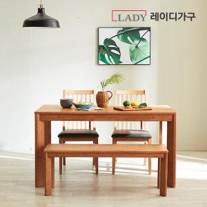더휴 고무나무 원목 식탁 4인 (벤치1의자2) (쿠폰5%)