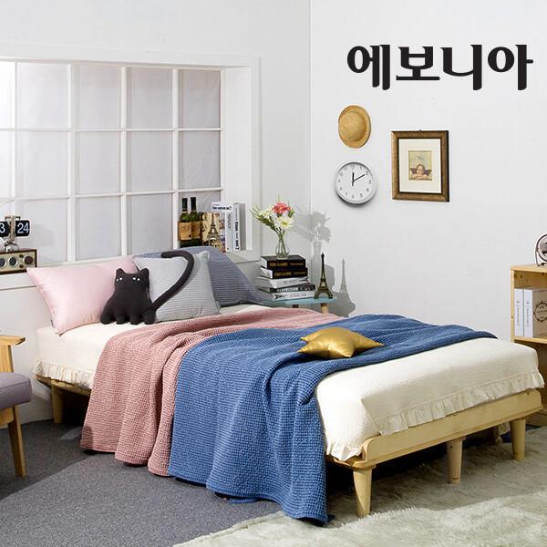 (현대Hmall)에보니아 파인 평상형 원목 퀸 침대 프레임(Q) /착불배송 상품이미지
