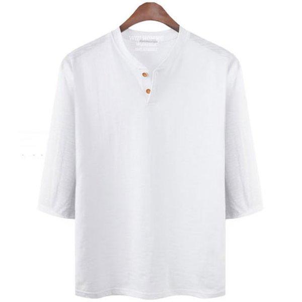빅사이즈 2XL 3XL 면티 슬라브 7부 헨리넥 티셔츠 NR580T 상품이미지