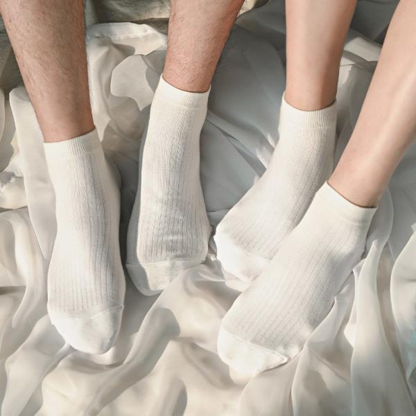 STF 무지골지 스니커즈 발목양말 5켤레 남녀 골지양말 상품이미지