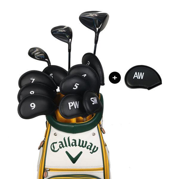 골프채 아이언커버 세트 자수 숫자 클럽헤드보호 블랙 상품이미지