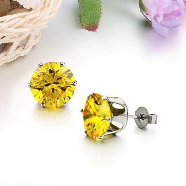 티타늄 스틸 다이아몬드 스터드 귀걸이-화이트DG 상품이미지