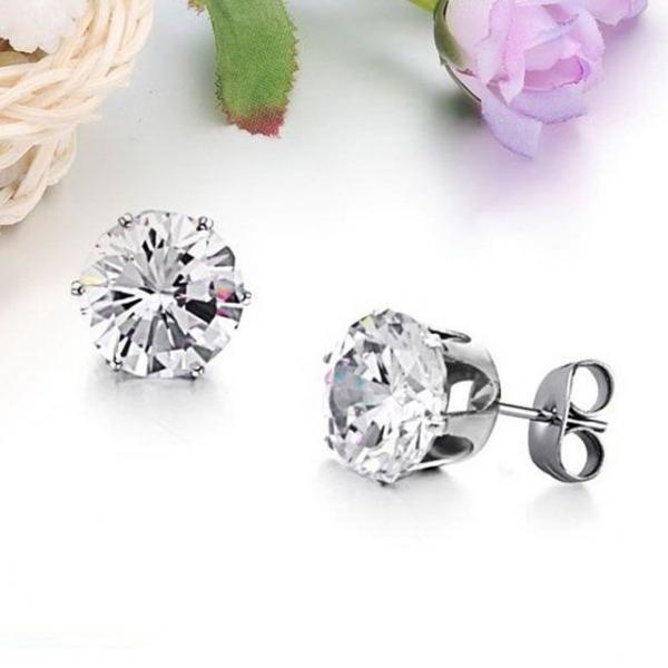 다이아몬드 티타늄 스틸 보석 귀걸이-화이트DG 상품이미지
