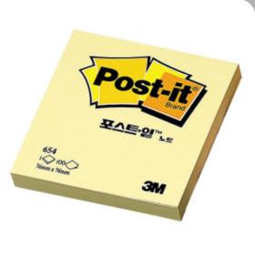3M 포스트잇 노트 654 (100매입) 노랑 메모지 접착식