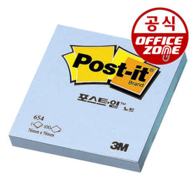 3M 포스트잇 노트 654 (100매입) 블루 메모지 접착식