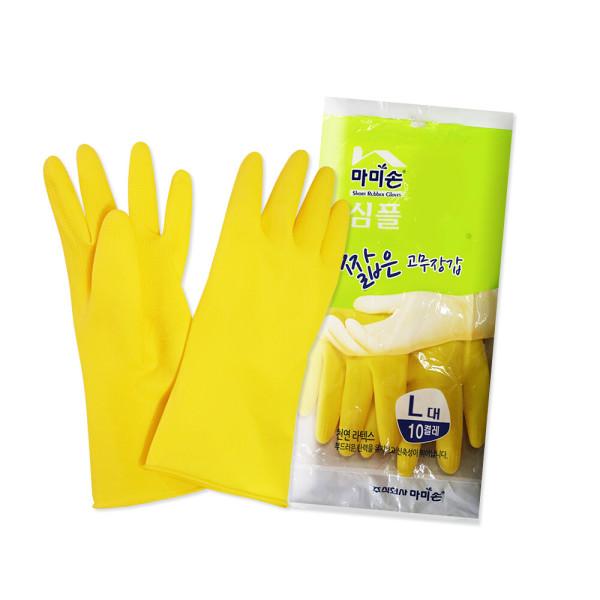 마미손 짧은 고무장갑 대형 10켤레 옐로우/라텍스/김장 상품이미지