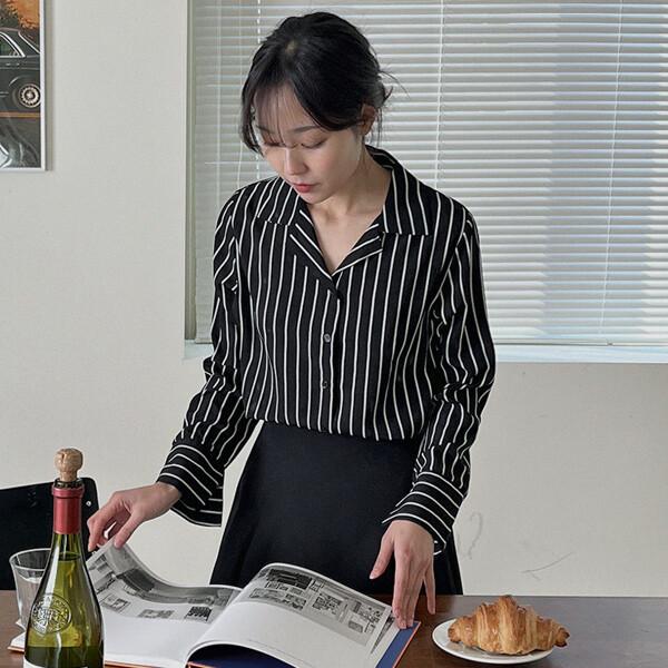 쓰리펀드 블라우스(44~88)  카라 셔츠 세로스트라이프 상품이미지