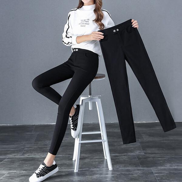왕스판 블랙바지 밴딩팬츠 면바지 여성빅사이즈 2002 상품이미지