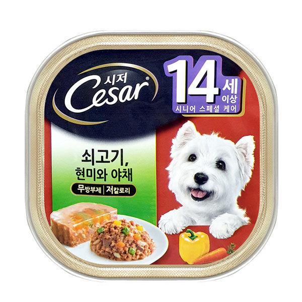 시저 강아지캔 14세이상 쇠고기현미와야채 100g x 24개 상품이미지