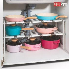 폭조절 싱크인 선반 2단 (화이트) / 싱크대 주방 정리