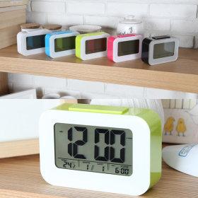 센서파스텔 디지털 탁상 시계 알람 자명종 야광 초록