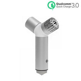 QCC-IQC30 실버 차량용 공기청정기 휴대폰 USB 충전기