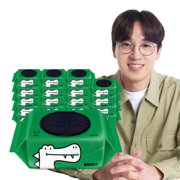 센스물티슈 악어 캡형 100매 10팩+10팩 /한장씩톡톡 상품이미지