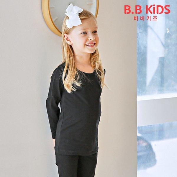 (비비키즈)  비비키즈  아동내복 올블랙 긴팔내의세트 상품이미지