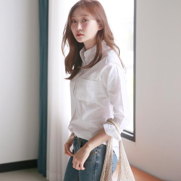 옥스포드 차이나넥 기본 셔츠 남방 W056 여성 블라우스 상품이미지