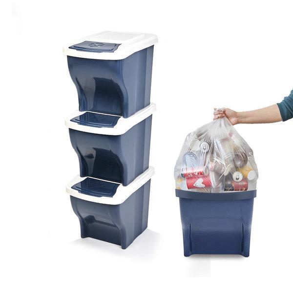 가정용분리수거함 3단 및 비닐봉투(40L) 100매 재활용 상품이미지