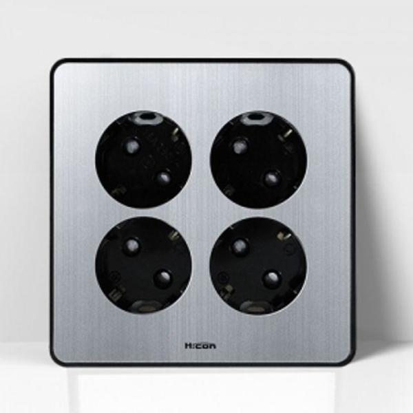현대 매입콘센트 4구 콘센트 실버 전기스위치 커버 상품이미지