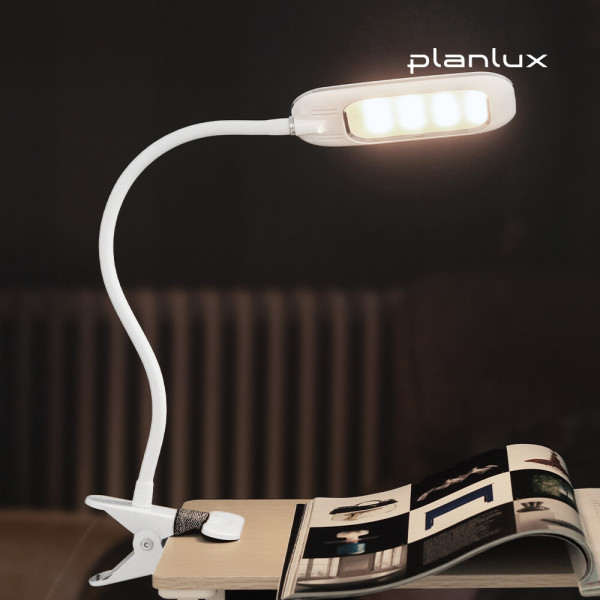 플랜룩스 플리코 집게 LED 스탠드 독서등 - 백색 상품이미지