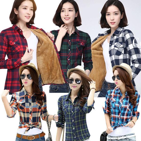 여성 체크 남방 셔츠 가을 봄 긴팔 자켓 블라우스 상품이미지