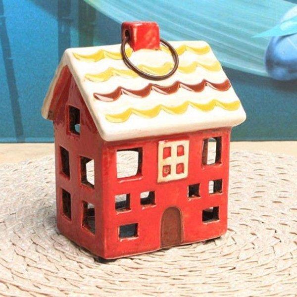 유럽풍 미니하우스 캔들홀더 장식소품 (붉은집) 상품이미지
