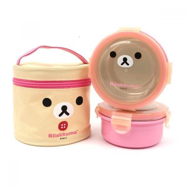 리락쿠마 가방2단 원형 이중스텐도시락(얼굴)(핑크) 상품이미지