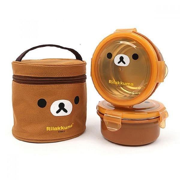 리락쿠마 가방2단 원형 이중스텐도시락(얼굴)(브라운) 상품이미지