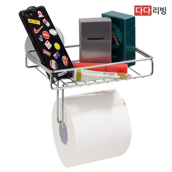 타이탄 매직 후크 휴지걸이 선반 1단 /스텐 욕실 흡착 상품이미지