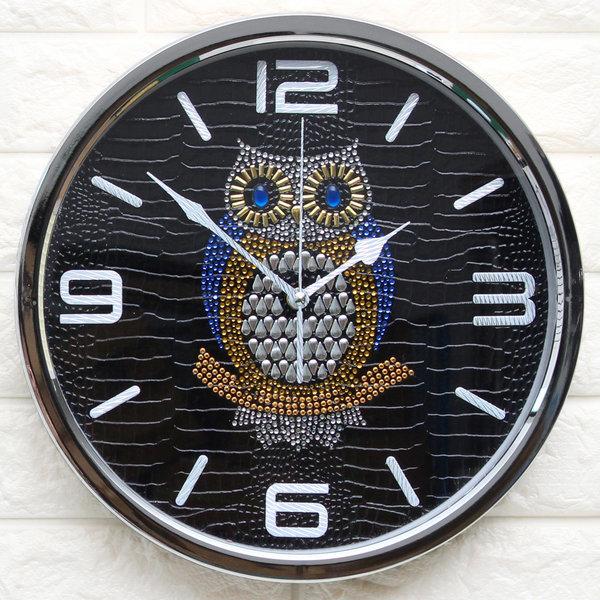 인테리어벽시계 큐빅부엉이300A-블랙/무소음시계 소품 상품이미지