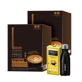 커피믹스/루카스나인/라떼 더블샷100T+유리머그컵2개