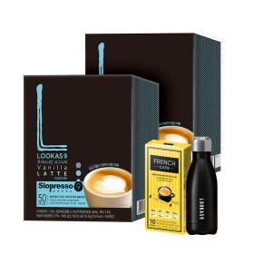 커피믹스/루카스나인/라떼 바닐라100T+유리컵+머들러