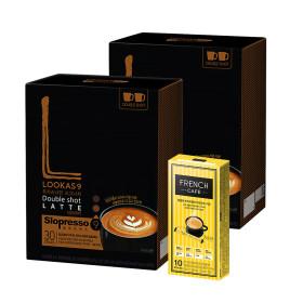 커피믹스/아메리카노/라떼/루카스나인 더블샷60+유리컵