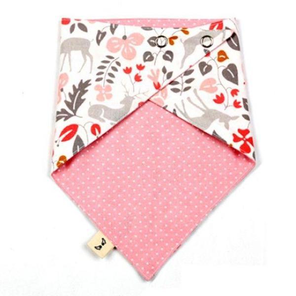 국내제작 순면 양면스카프 핑크사슴 턱받이 스카프 상품이미지