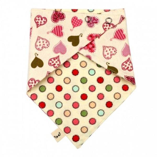 국내제작 순면 양면스카프 핑크하트 턱받이 스카프 상품이미지
