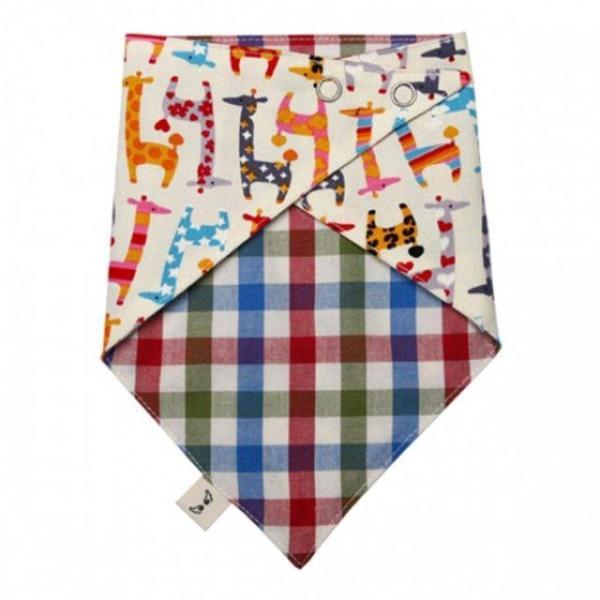 국내제작 순면 양면스카프 기린패턴 턱받이 스카프 상품이미지