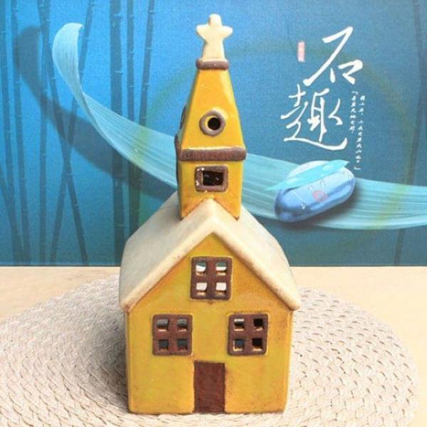 유럽풍 미니하우스 캔들홀더/장식소품(교회) 상품이미지