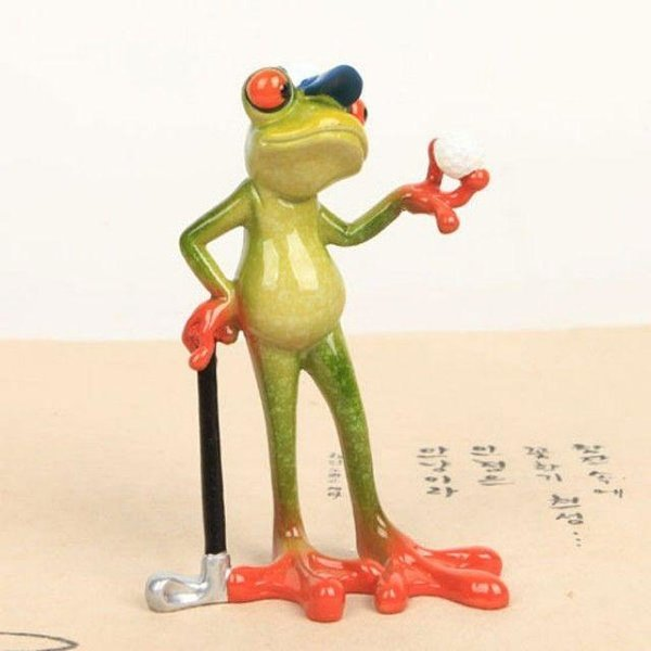 골프하는 개구리 소품 인형 상품이미지