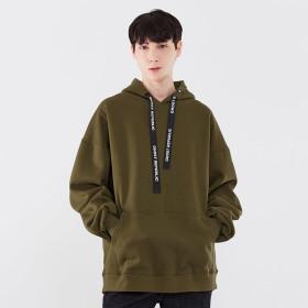 라벨 포인트 오버핏 남자 후드티셔츠 / 남성 후드티