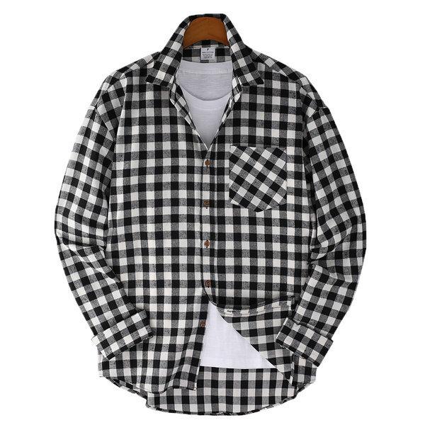 오버핏 체크포켓 남자 체크셔츠 / 빅사이즈 긴팔셔츠 상품이미지