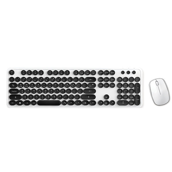 레트로 무선 키보드 + 마우스 세트 KMC-04 블랙 상품이미지